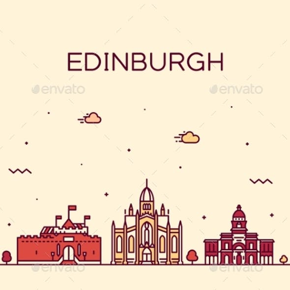 Edinburgh Skyline Scotland Trendy a Vector Linear