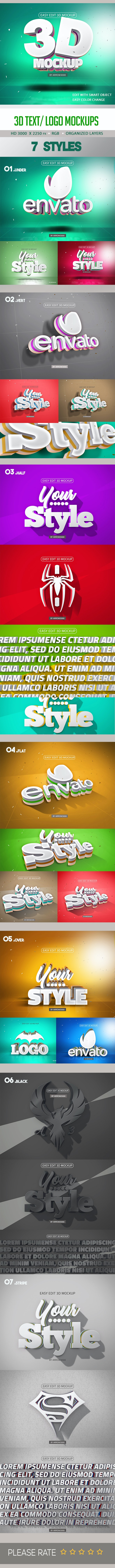 3D Text/ Logo Mockup - Text Effects Actions