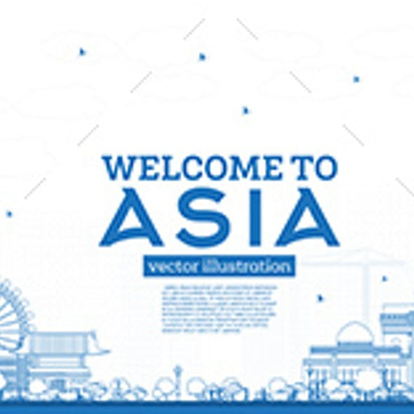 Outline Welcome to Asia Skyline with Blue Buildings