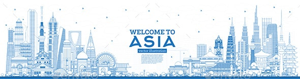 Outline Welcome to Asia Skyline with Blue Buildings - Buildings Objects