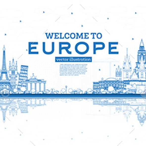 Outline Welcome to Europe Skyline with Blue Buildings