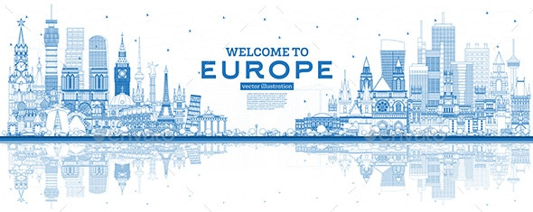 Outline Welcome to Europe Skyline with Blue Buildings - Buildings Objects
