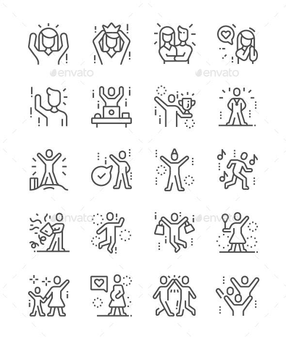 Joyful people Line Icons - People Characters