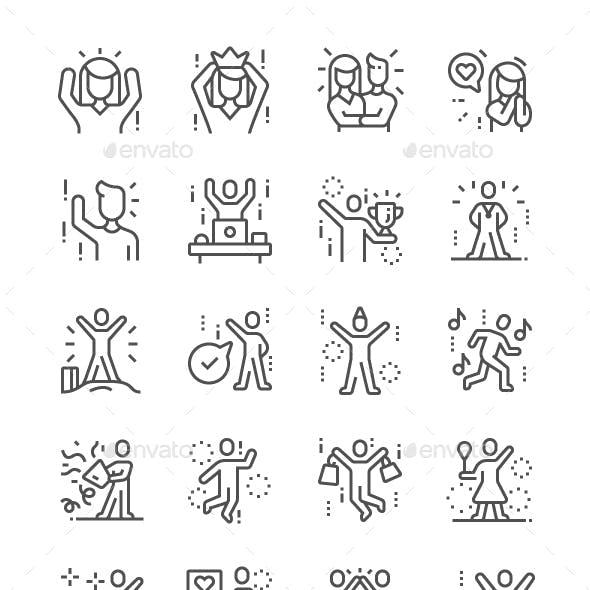 Joyful people Line Icons