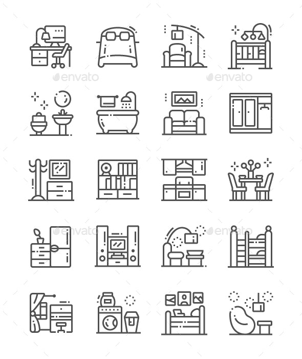 Home Room Types Line Icons - People Characters