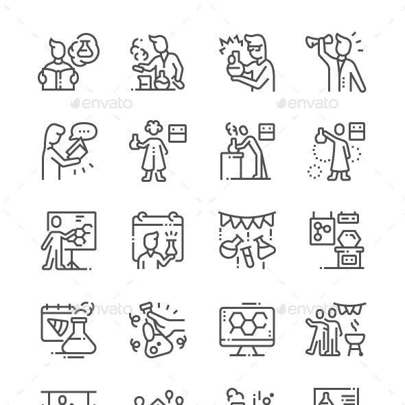 Chemists Day Line Icons