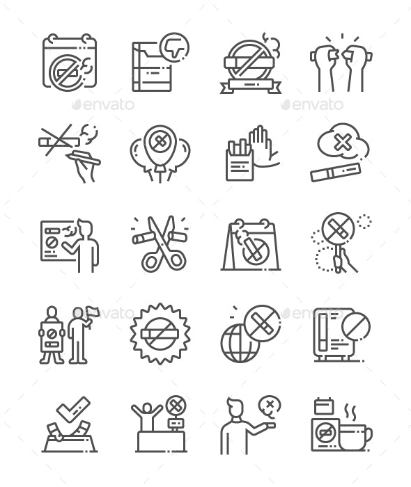 World No Tobacco Day Line Icons - Miscellaneous Characters