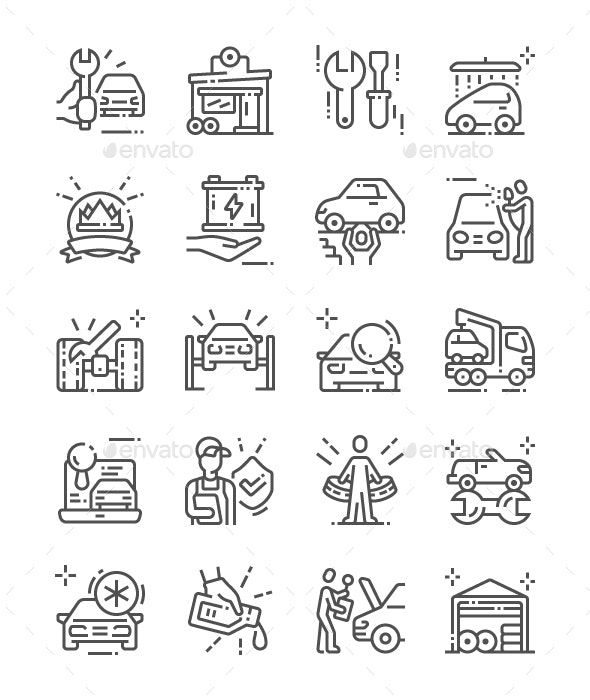 Car service Line Icons - Miscellaneous Characters