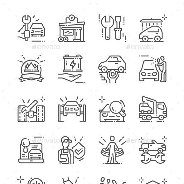 Car service Line Icons
