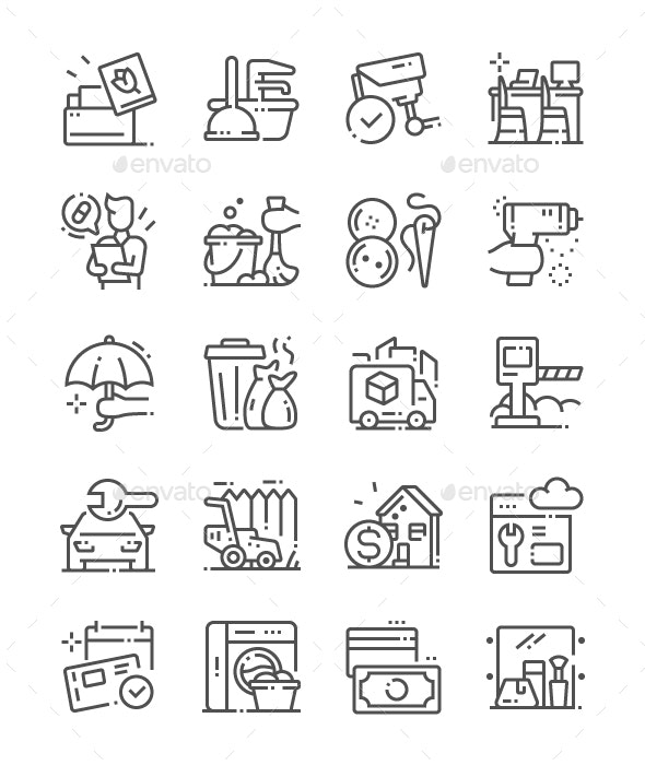 Services Line Icons - Business Icons