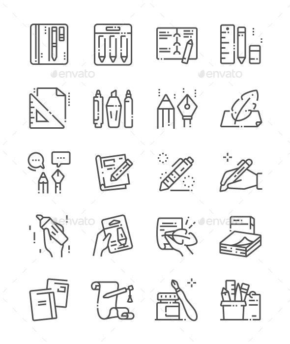 Writing tools Line Icons - Miscellaneous Characters