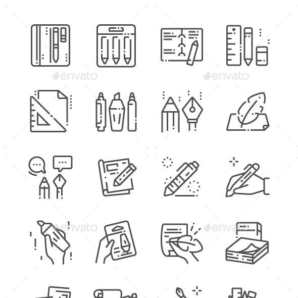 Writing tools Line Icons