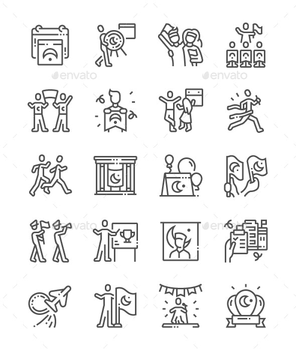 Youth and Sports Day Line Icons - People Characters
