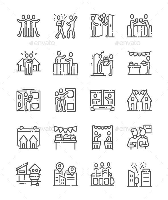 European Neighbours Day Line Icons - Miscellaneous Characters