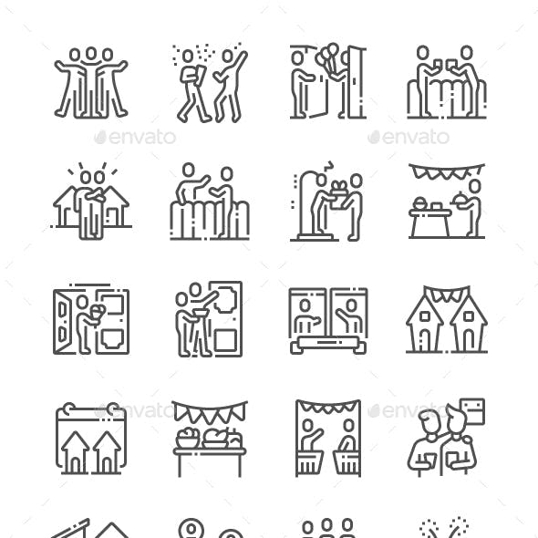 European Neighbours Day Line Icons