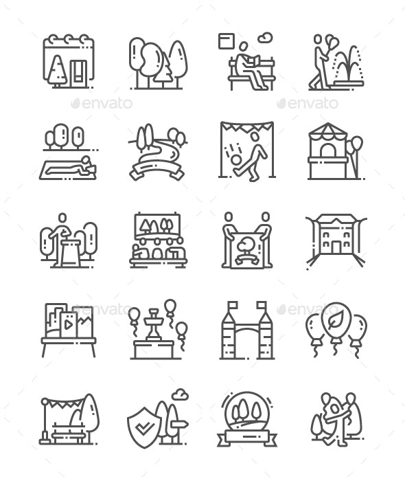 The European Day of Parks Line Icons - Miscellaneous Characters
