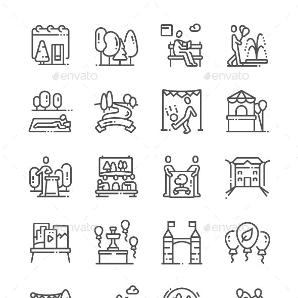 The European Day of Parks Line Icons