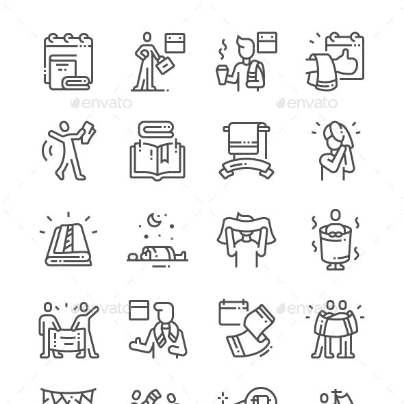 Towel Day Line Icons