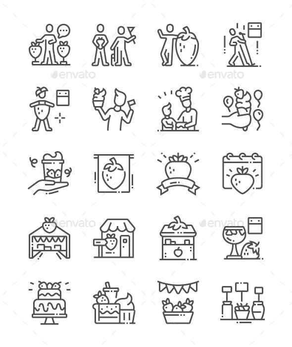Erdbeerfest Line Icons