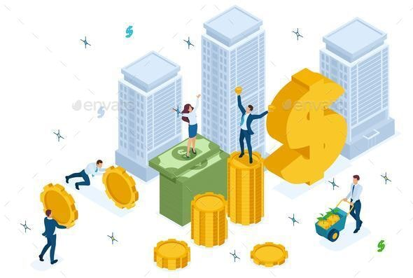 Isometric Mutual Fund Investment in Construction - People Characters
