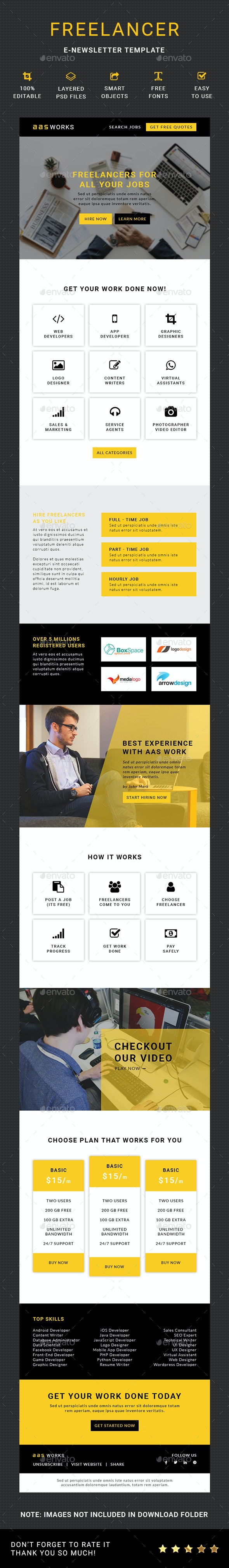 Freelancer E-Newsletter - E-newsletters Web Elements