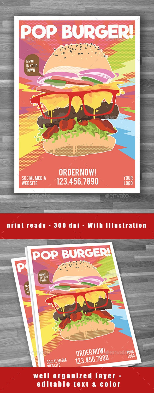 Pop Burger Flyer Poster - Restaurant Flyers