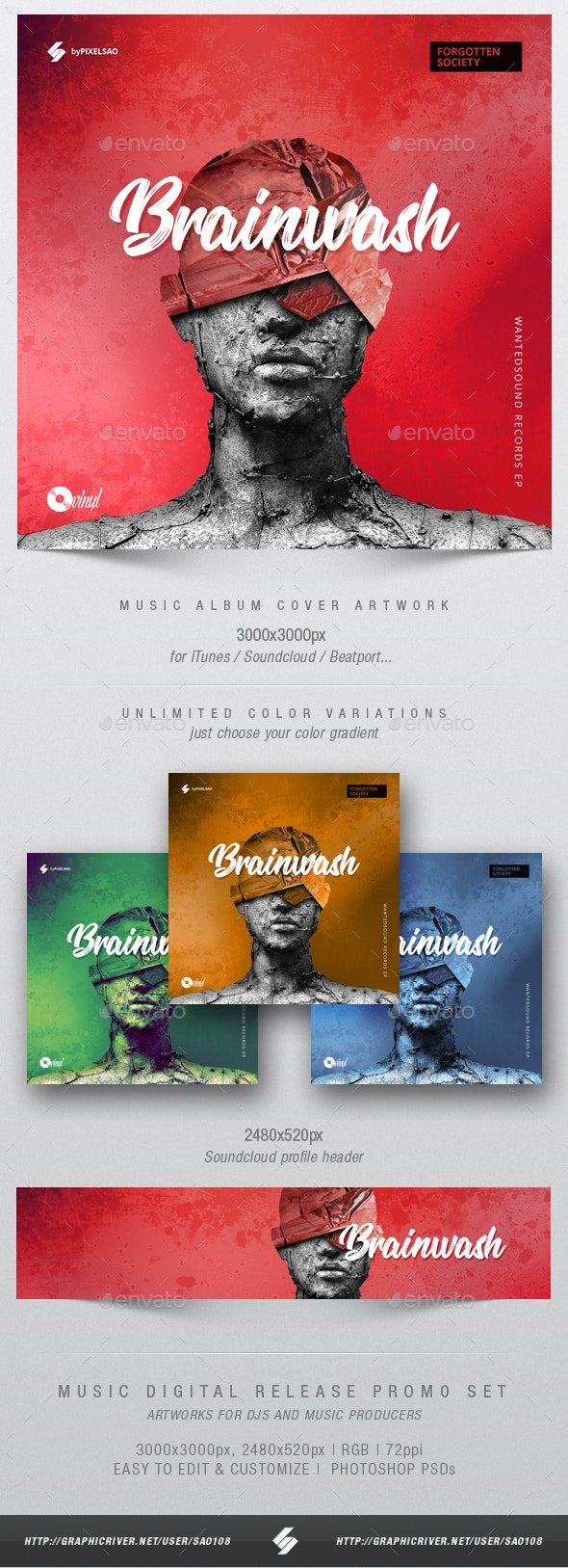 Brainwash - Music Album Cover Artwork Template - Miscellaneous Social Media