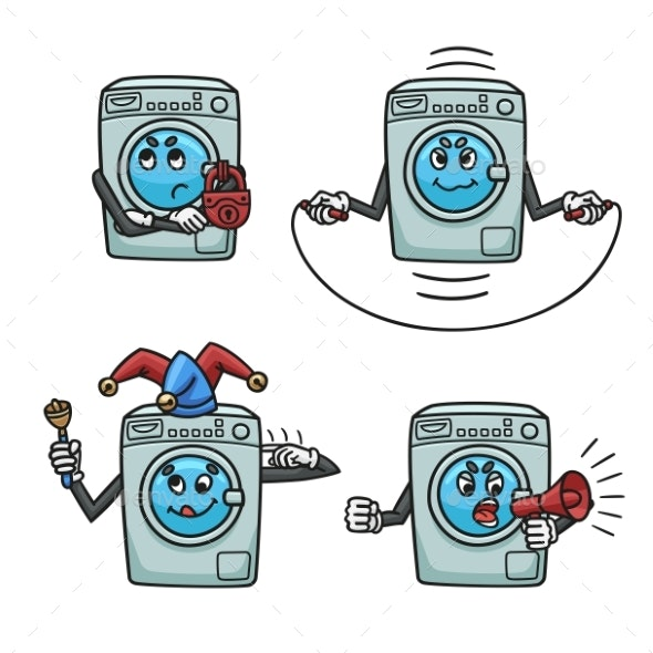 Set of Broken Washing Machines - Man-made Objects Objects