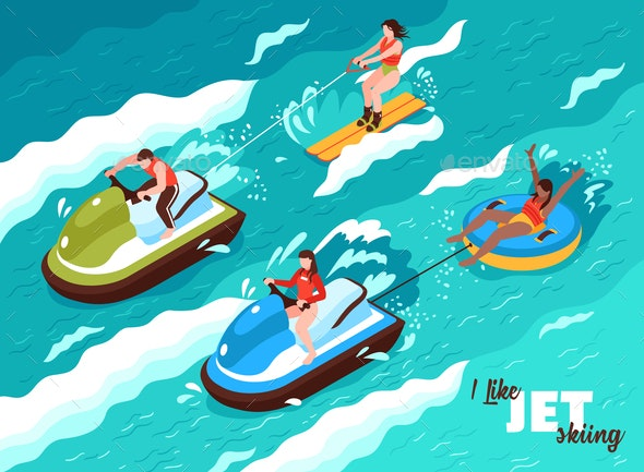 Jet Skiing Isometric Poster - Sports/Activity Conceptual