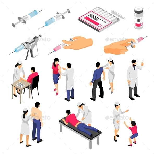 Vaccination Isometric Set - People Characters