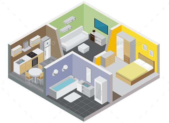 Two Rooms Apartment Design Concept - Miscellaneous Vectors