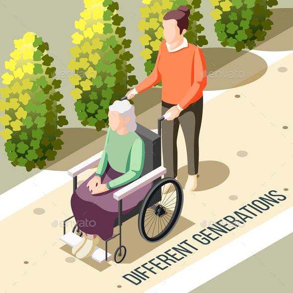 Different Generations Isometric Background - People Characters