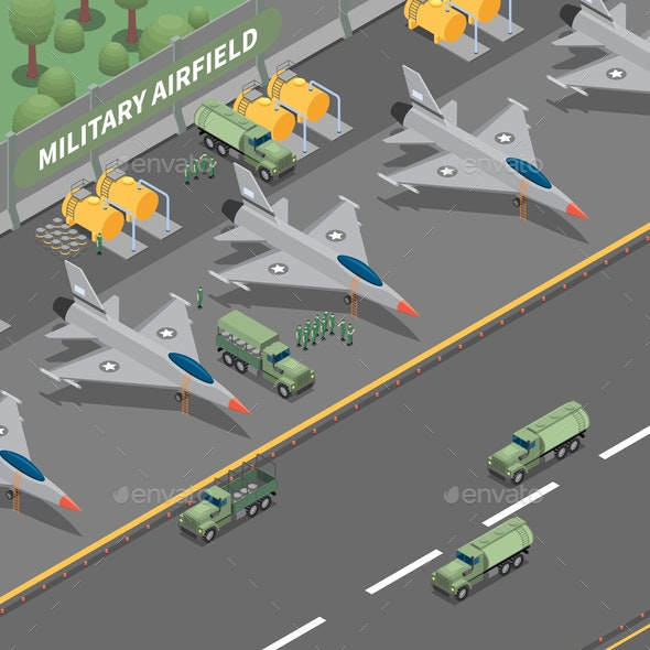 Military Airfield Isometric Composition - Man-made Objects Objects
