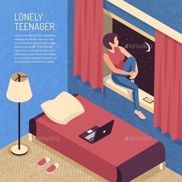 Isometric Teenager Bedroom Background - People Characters