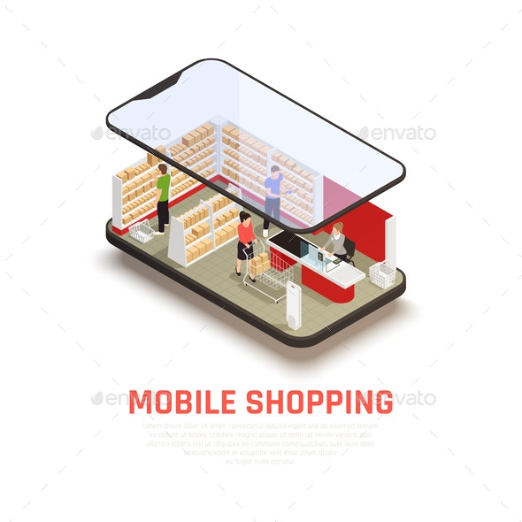 Mobile Shopping Concept - Food Objects
