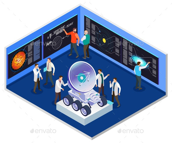Astrophysics Research Center Isometric Interior - Miscellaneous Vectors