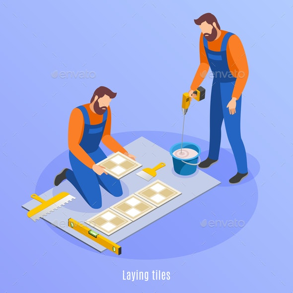 Laying Tiles Isometric Background - Miscellaneous Vectors