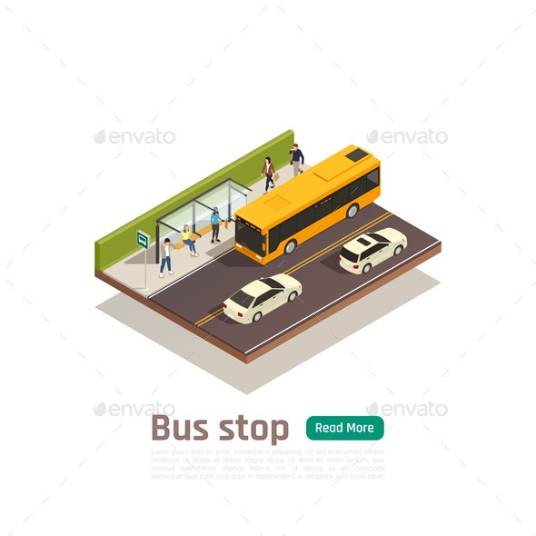 Isometric Colored City Composition - Buildings Objects