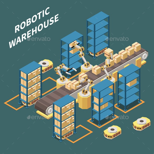 Warehouse Isometric Composition - Computers Technology