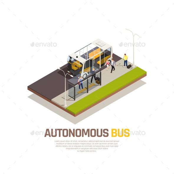 Autonomous Car Driverless Vehicle Robotic Transport Isometric Composition - Miscellaneous Vectors