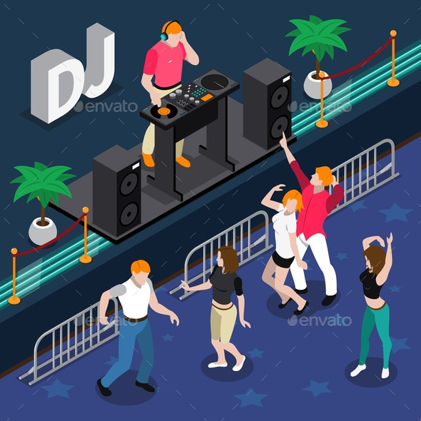 Musicians Isometric Composition - People Characters