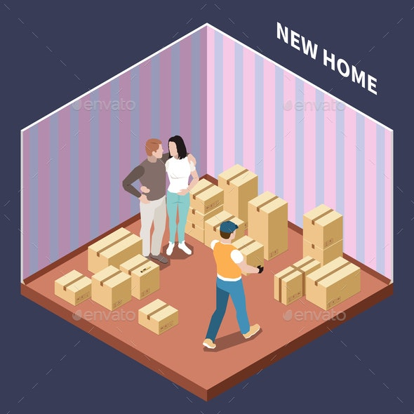 Cardboard Boxes Isometric Composition - People Characters