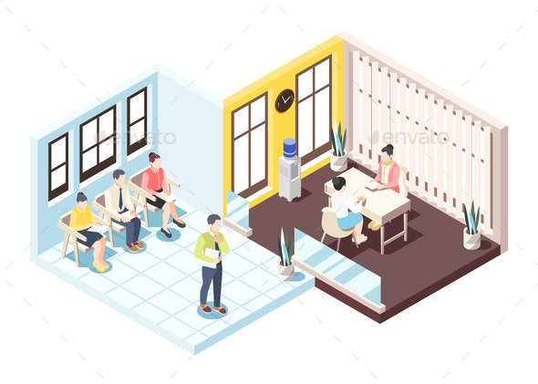 Employment and Recruitment Isometric Composition - People Characters
