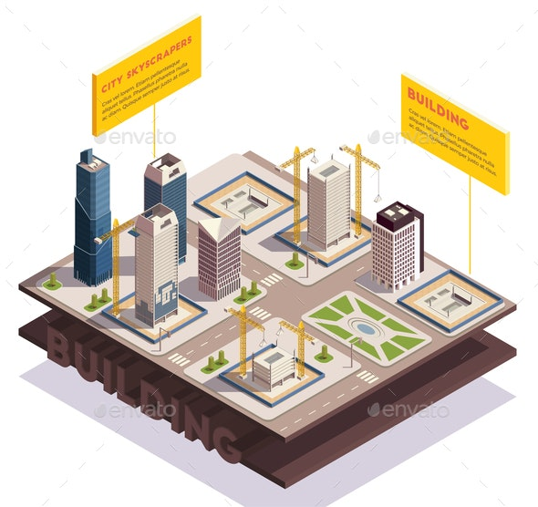 City Skyscrapers Isometric Composition - Buildings Objects