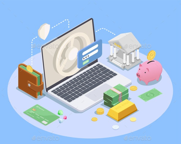 Online Banking Isometric Composition - Concepts Business
