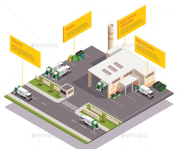 Recycling Center Isometric Composition - Industries Business