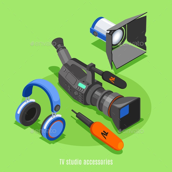 TV Studio Accessories Isometric Background - Media Technology