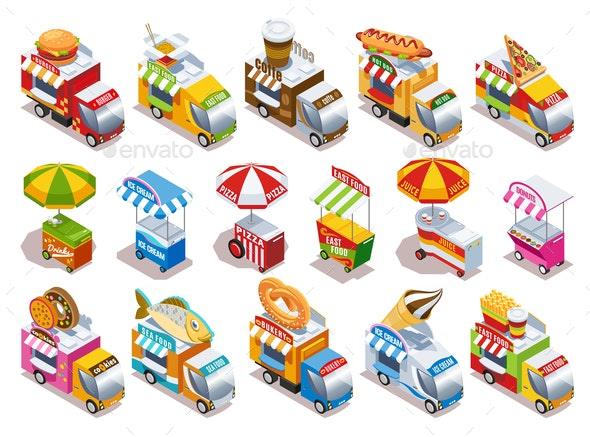 Food Truck Isometric Icons Set - Food Objects