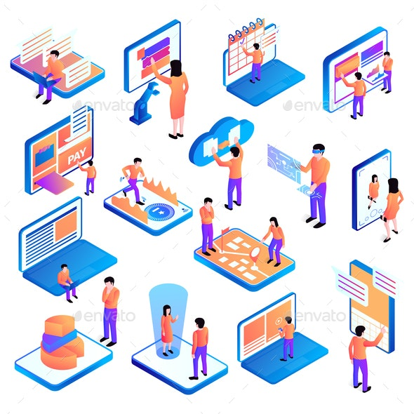 Isometric People Interfaces Set - People Characters