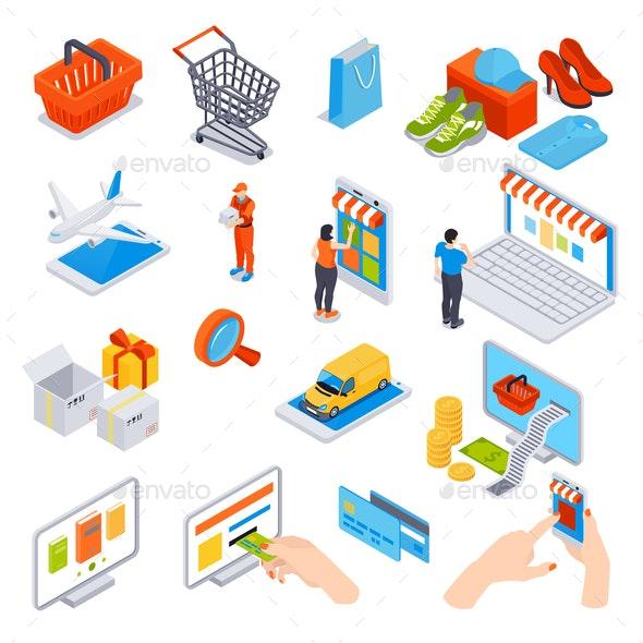 Online Shopping Isometric Set - Miscellaneous Vectors